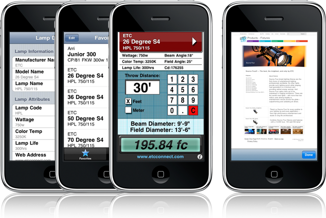 iPhone Lighting Software:  ZinmanCo's PocketLD and Synthe FX's Luminair v2