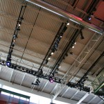 the lighting rig in the lobby of ETC's Headquarters