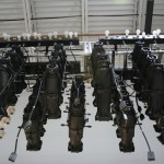 racks of Source Fours for testing dimmers in the factory