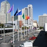 the flags in front of The Moscone Center
