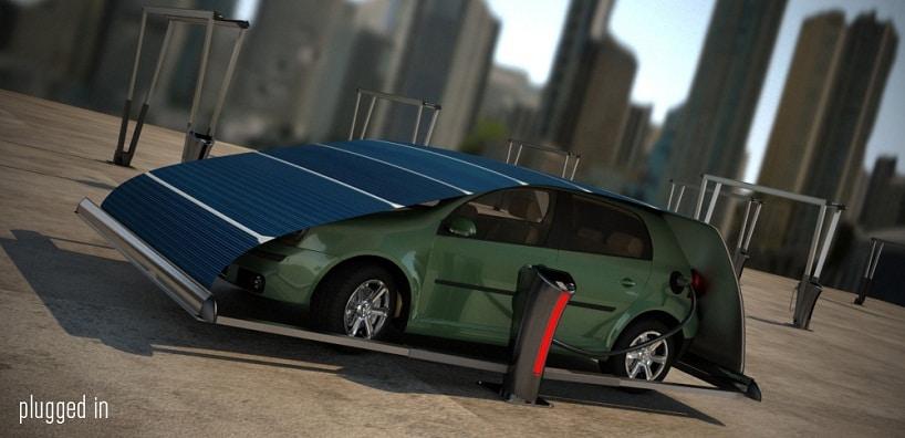 Hakan Gursu's V-Tent – A Solar Panel Car Charging Parking System?
