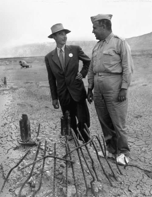 General Leslie Groves and J. Robert Oppenheimer at the Trinity test site zero point
