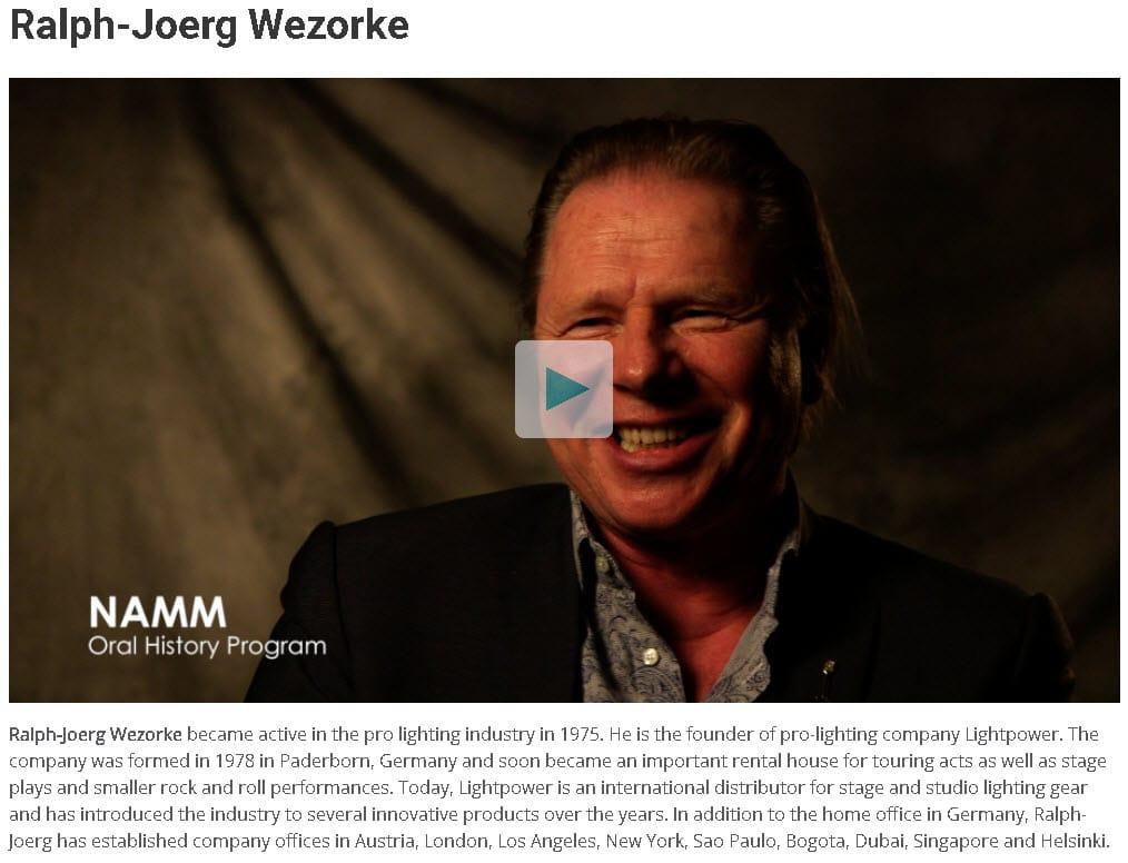 Ralph-Joerg Wezorke NAMM Oral History