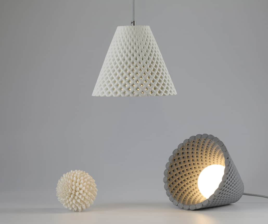 """Dror Caspi's """"Helia"""" concrete pendant and table lamp (and that weird spikey nightmare ball thing)"""